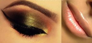 golden-eye-nude-lip-makeup-for-christmas